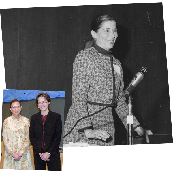 Top: 1980: Ginsburg leads a panel discussion at the Columbia Law School Women's Association's second annual Myra Bradwell Day, which commemorates the Illinois lawyer who was denied admission to the bar by the Illinois Supreme Court in 1870 because of her gender. Bradwell was eventually admitted to the Illinois bar in 1890 and to the U.S. Supreme Court Bar in 1892. Courtesy Columbia Law School. Bottom: Justice Ginsburg with Professor Gillian Metzger (Clerk, 1997/1998).
