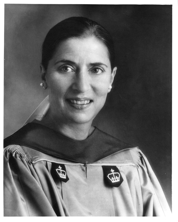1975: Professor Ruth Bader Ginsburg '59 in her academic regalia at the Columbia Law School graduation ceremony. Courtesy Columbia Law School.