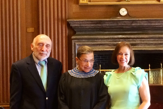 2014: Justice Ginsburg with Stephen and Elaine Weisenfeld. The Justice performed their wedding ceremony the following day at the Supreme Court.