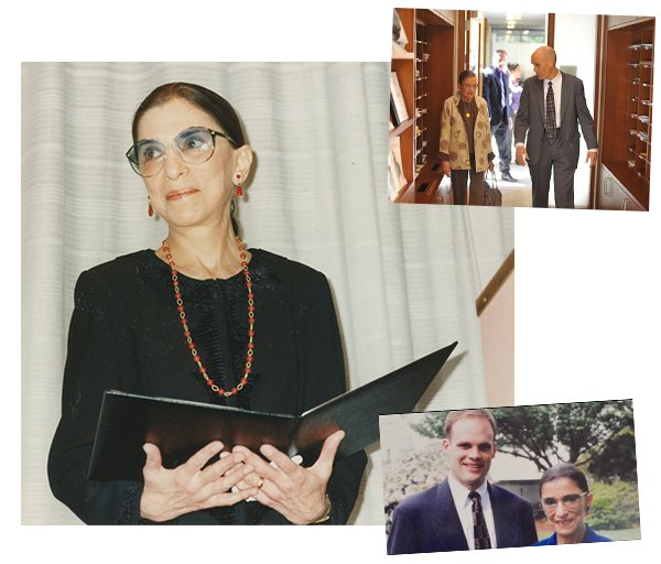 Top & Bottom: Justice Ginsburg with Judge John B. Owens (Clerk, 1997/1998). Center: 1995: Justice Ginsburg is presented with Columbia Law School's highest honor, the Medal for Excellence, which has been awarded annually since 1964 to alumni and past or present faculty members who exemplify the qualities of character, intellect, and social and professional responsibility that the Law School seeks to instill in its students. Courtesy Columbia Law School.