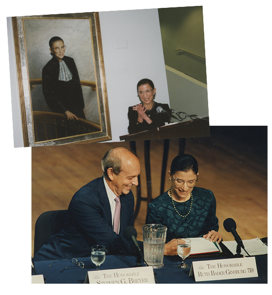 """Top: 2001: Justice Ginsburg delights at the unveiling of her official Columbia Law School portrait, painted by Constance P. Beaty. Courtesy Columbia Law School. Bottom: 2001: Justice Ginsburg and her Supreme Court colleague Justice Stephen G. Breyer participate in a panel, """"The Great Law School: Changing the Law Through Legal Education and Scholarship,"""" at Columbia Law School. Courtesy Columbia Law School"""