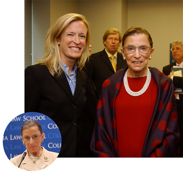 Top: Justice Ginsburg with Professor Amanda L. Tyler (Clerk, 2000/2001). Bottom: 2009: Justice Ginsburg attends her 50th reunion at Columbia Law School. Courtesy Columbia Law School.